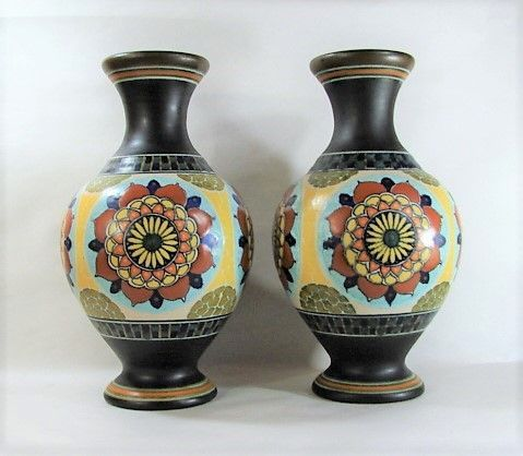 "12"" Pair Gouda Vases - Matte Glaze - Striking Design"