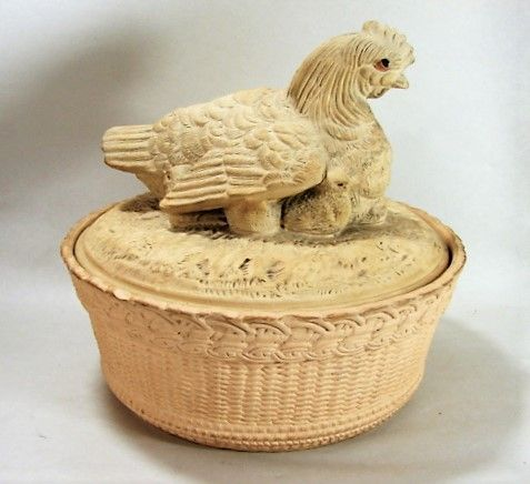 Caneware Hen and Chicks Terrine - ca 1850 - Lidded Game Pie