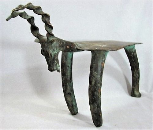 Rare Lobi Bronze Antelope Stool - Fine African Sculpture