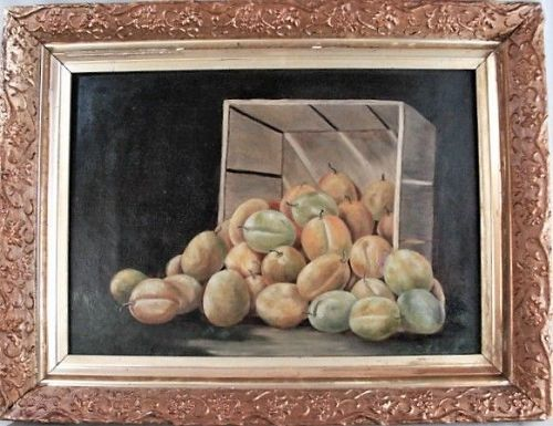 Still Life of Peaches or Plums in Gilded Frame