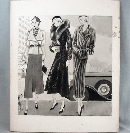 Original Fashion Illustration ART DECO Street Scene 3 Women ca 1930