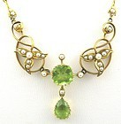 Peridot Necklace with Seed Pearls