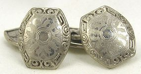 BELAIS White-Gold Front Cufflinks
