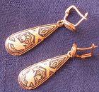 Victorian Bird Earrings � Black Enamel
