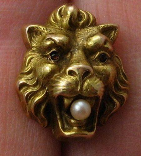 Art Nouveau Lion Gold Tie Tack