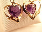 Amethyst Heart Earrings--February's Birthstone!