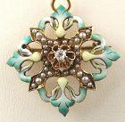 Diamond Green Enamel Pendant/Brooch in 14k