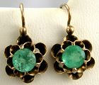 Emerald Earrings 14k Rose Gold