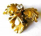 Diamond Pearl & Gold Orchid Pin, Newark NJ