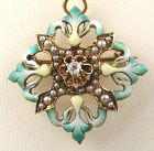 Diamond Green Enamel Pendant/Brooch in 14k