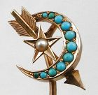 Arrow and Moon and Star - Gold &Turquoise Stick Pin