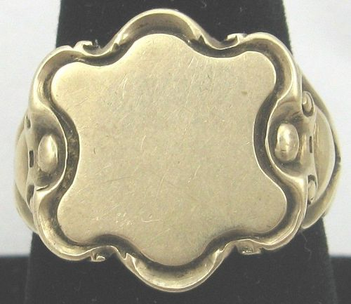 Signet Ring Art Nouveau 14k Gold
