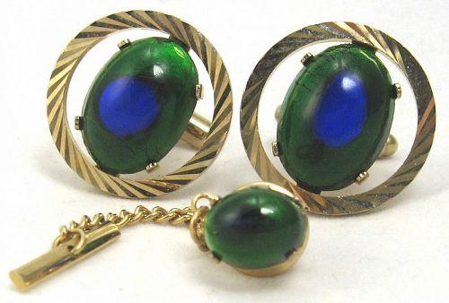 Peacock Eye Glass Set � Cufflinks, Tie Tack