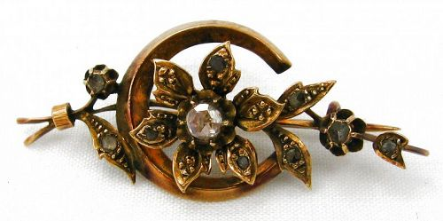 Flower and Moon Brooch - Diamonds and 14k Rose Gold