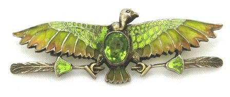 Egyptian Revival Plique a Jour Pin
