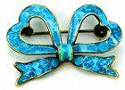 Blue Plique a Jour Enamel Silver Bow Brooch