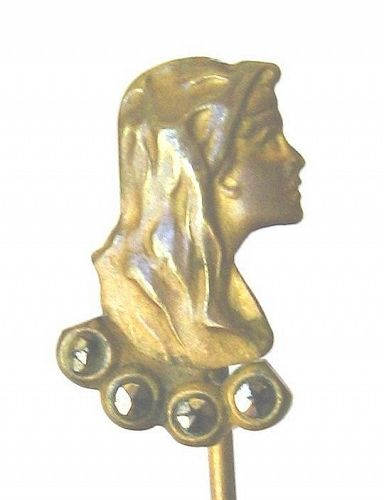 Yellow Metal Long Haired Lady in Profile Stick Pin