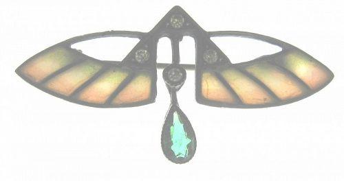 800 Silver & Plique a Jour Moth Pin - Jugendstil