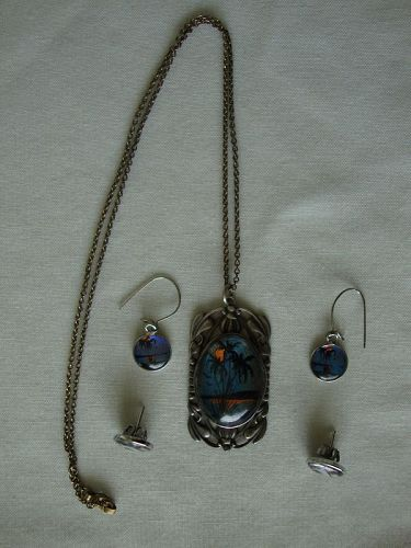 Butterfly Pendant & Earrings