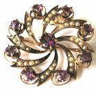 10kt Seed Pearl & Garnet Pinwheel Necklace/Brooch