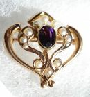 Art Nouveau Amethyst Watch Pin