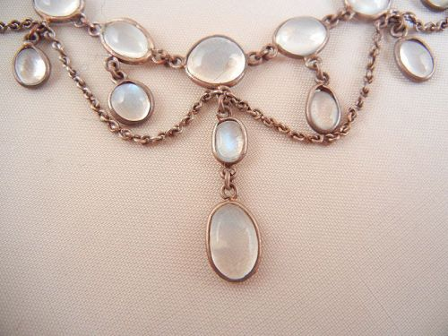 Silver and Moonstone Garland Necklace
