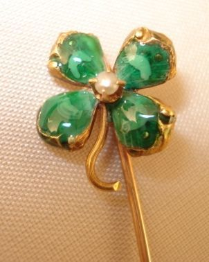 Lucky Four-Leafed Clover Stickpin