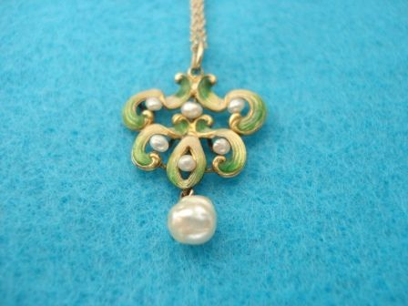 Enamel and Pearl Lavalier