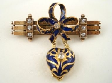 Diamond and Enamel Victorian Pin