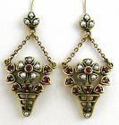 Ruby & Seed Pearl Flower Basket Earrings 10kt Gold