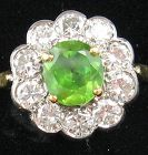 Diamonds & Demantoid (Green) Garnet Ring