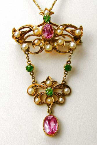 Demantoid (Green) Garnet Pink Topaz Pin/Pendant 15kt Gold