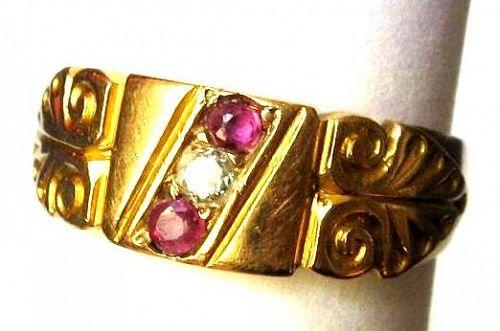 Diamond Ruby 18kt Cigar Band Ring with Hallmarks - 1903
