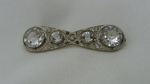 Art Deco Paste Bar Pin marked �Czechoslov�