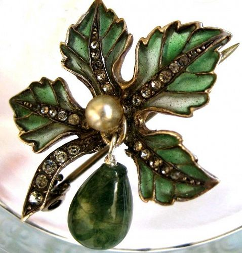 Plique a Jour Enamel Agate and Sterling Brooch