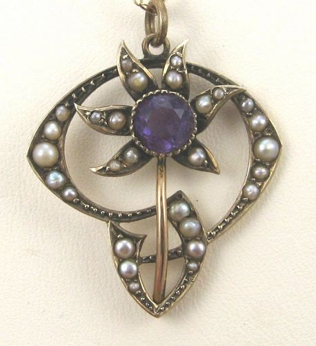 Belle Epoch Art Nouveau Amethyst Flower Pendant