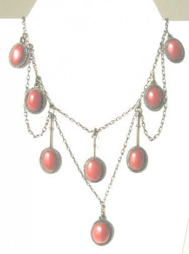 Ox Blood Coral & Silver Garland Jugendstil (Arts & Crafts) Necklace