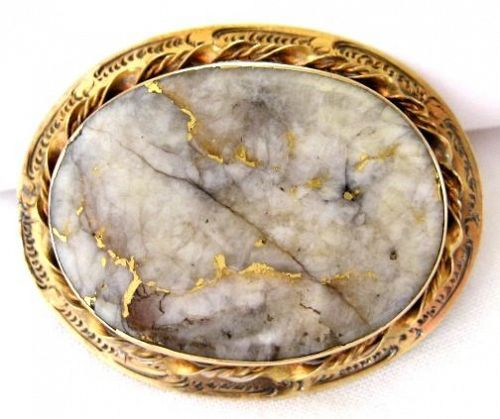 Gold-in-Quartz Brooch in 14kt Gold