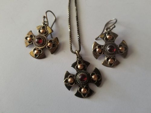 Garnet, Silver, and Gold Necklace & Earrings