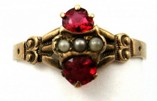 Rose Gold & Red Stone Ring � Very Victorian