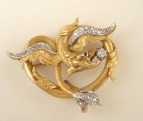 Art Nouveau Dragon Pin