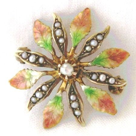 Enameled Flower Pin by Klitz