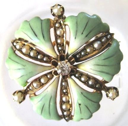 Diamond Enameled Ginkgo Leaf Pendant/Brooch