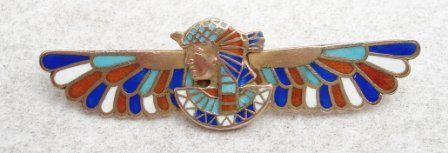 Egyptian Revival Winged Pharaoh Brooch