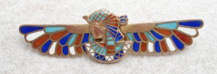 Egyptian Revival Winged Pharaoh Brooch
