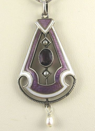 Enameled Amethyst Pendant by HERMANN & SPECK