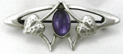 Art Nouveau/Arts & Crafts Purple Stone Brooch
