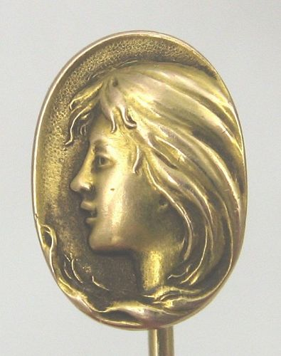 Girl in 14kt Yellow Gold - Art Nouveau Stick Pin