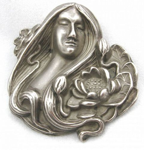 Sterling Lady with Lotus or Lilypad Brooch