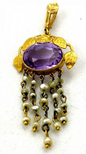 14kt Amethyst & Seed Pearl Pendant - A&C Style